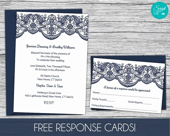 Wedding Response Card Template Free Awesome Lace Wedding Invitation Template Free Response Card Template