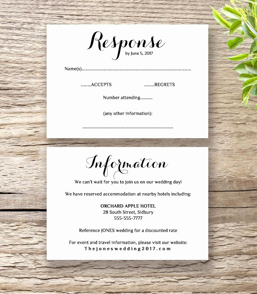 Wedding Response Card Template Free Awesome Printable Wedding Invitation Rsvp Information Templates