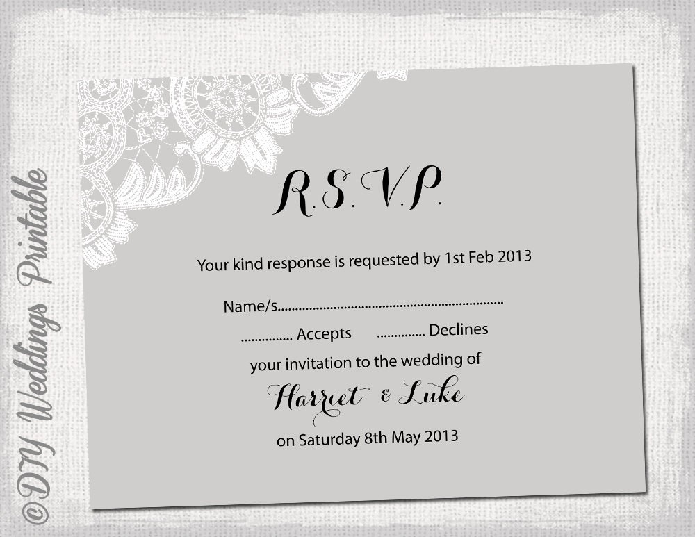 Wedding Response Card Template Free Awesome Wedding Rsvp Template Diy Silver Gray Antique