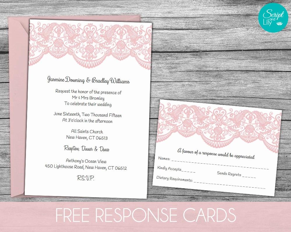 Wedding Response Card Template Free Best Of Lace Wedding Invitation Template Free Response Card Templ