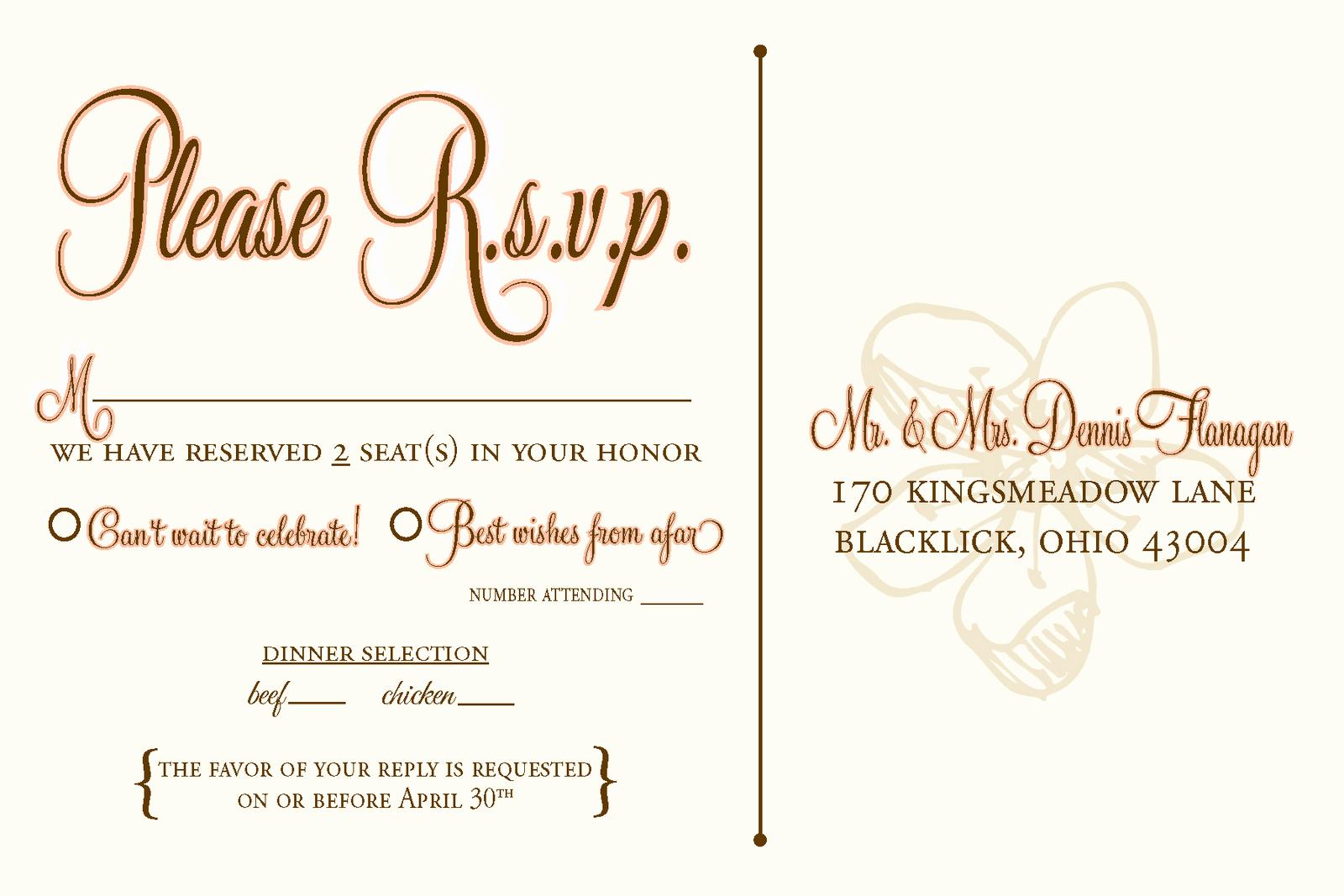 Wedding Response Card Template Free Elegant Wedding Invitation Rsvp Wording