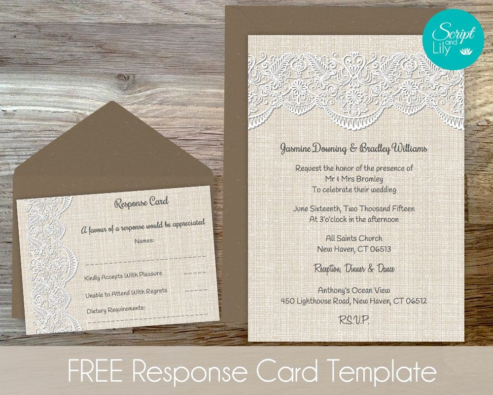 Wedding Response Card Template Free Fresh Burlap Lace Invitation Template