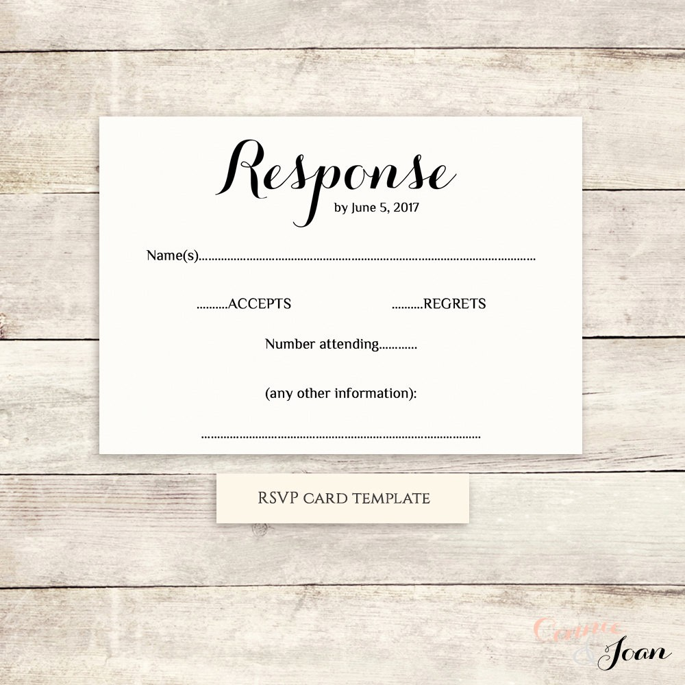 Wedding Response Card Template Free Lovely Printable Wedding Rsvp Template Rsvp Card byron Any