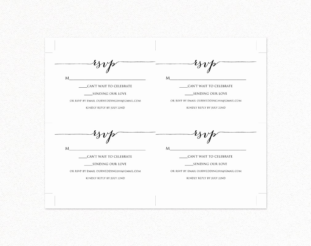 Wedding Response Card Template Free Lovely Rsvp Card Printable Template Diy Wedding Templates and