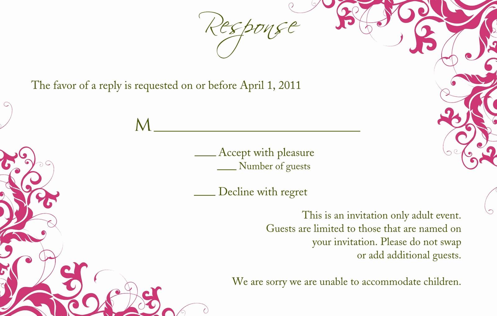 Wedding Response Card Template Free Luxury Birthday Party Sweet 16 Birthday Invitations Templates