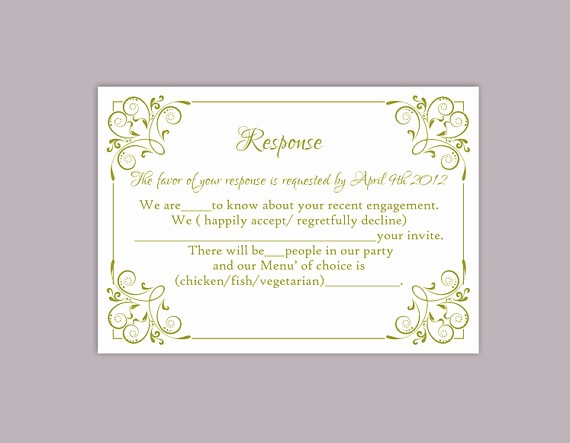 diy wedding rsvp template editable text word file printable rsvp cards olive green rsvp card template enclosure cards