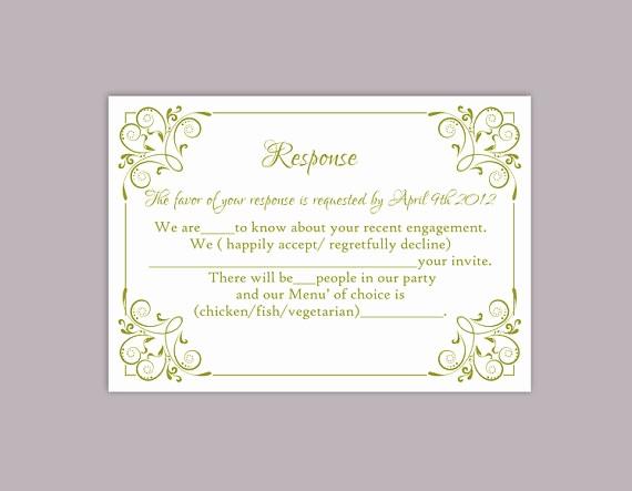 diy wedding rsvp template editable text word file printable rsvp cards olive green rsvp card template enclosure cards