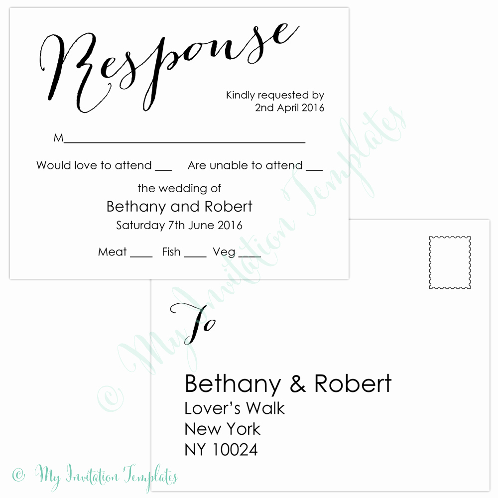 Wedding Response Card Template Free Unique Free Rsvp Template Reeviewer