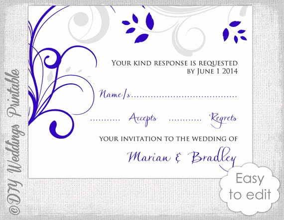 Wedding Response Card Templates Free Awesome Response Card Template Diy Royal Blue & Silver Gray