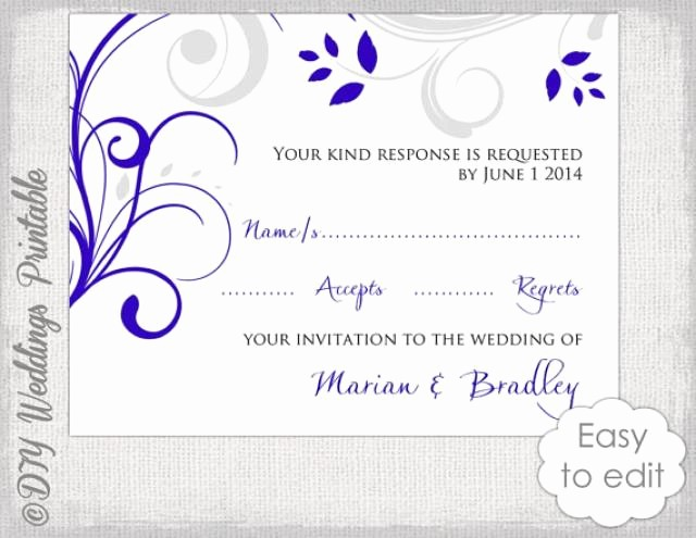 Wedding Response Card Templates Free Beautiful Response Card Template Diy Royal Blue & Silver Gray