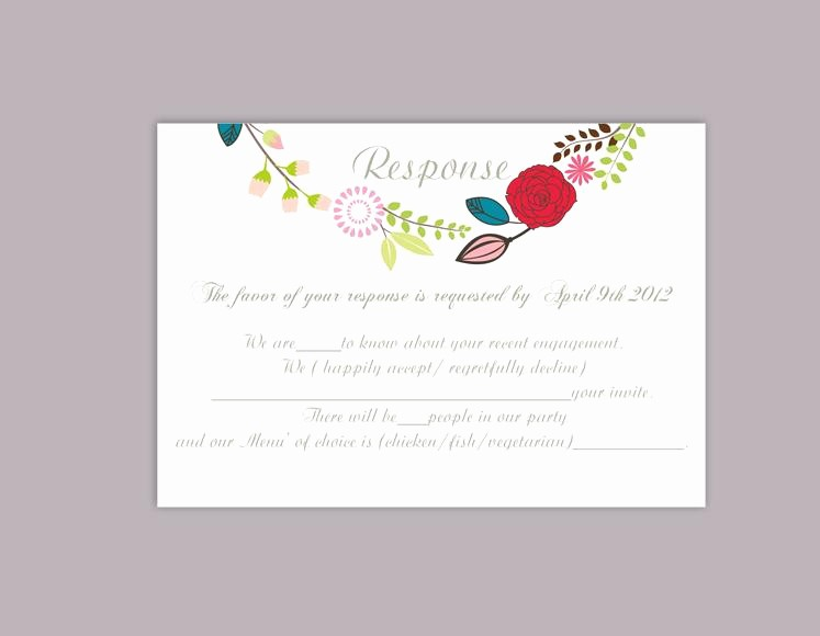 Wedding Response Card Templates Free Fresh Diy Wedding Rsvp Template Editable Word File Download Rsvp