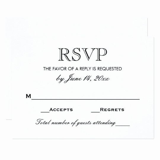 Wedding Response Card Templates Free Inspirational Wedding Rsvp Card Black and White