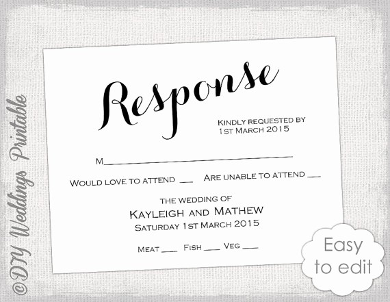 Wedding Response Card Templates Free Lovely Rsvp Template Diy Calligraphy Carolyna Printable