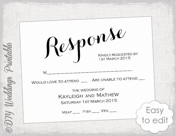 Wedding Response Card Templates Free Lovely Rsvp Template Diy Calligraphy Carolyna Printable