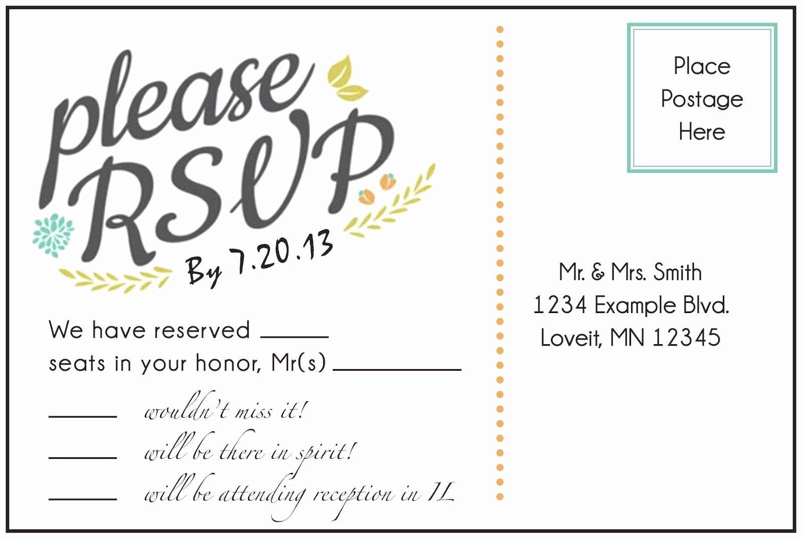 Wedding Response Card Templates Free Luxury Diy Rsvp Postcard Template Diy Do It Your Self