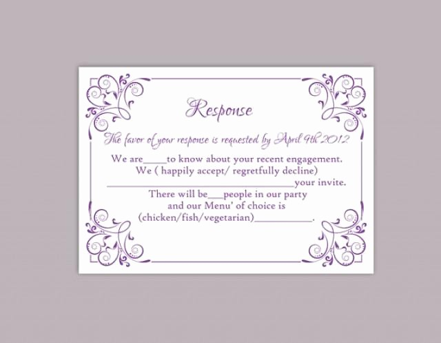 Wedding Response Card Templates Free Luxury Diy Wedding Rsvp Template Editable Text Word File Download