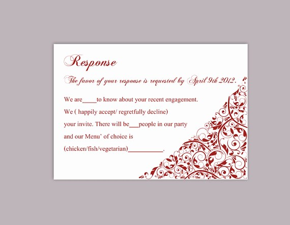 Wedding Response Card Templates Free Luxury Diy Wedding Rsvp Template Editable Text Word File Download