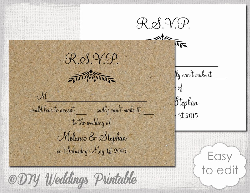 Wedding Response Card Templates Free New Rustic Wedding Rsvp Template Leaf Garland