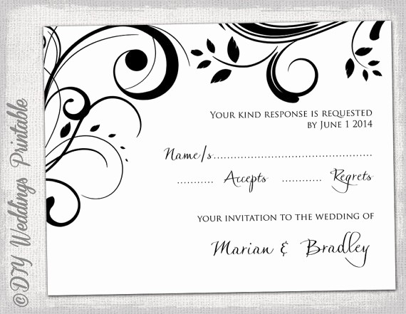 Wedding Response Card Templates Free Unique Free Printable Wedding Rsvp Card Templates