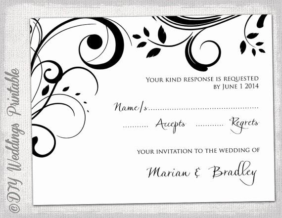 Wedding Response Card Templates Free Unique Free Printable Wedding Rsvp Card Templates
