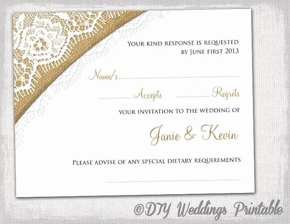 Wedding Response Card Templates Free Unique Rustic Wedding Rsvp Template by Diyweddingsprintable
