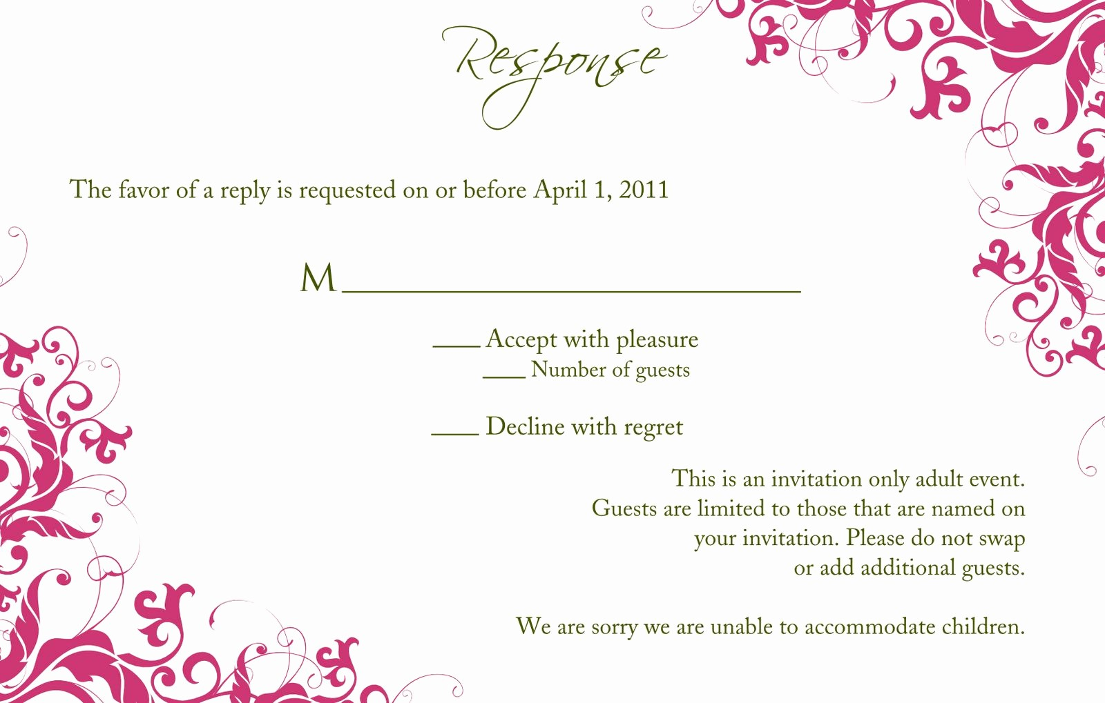 Wedding Response Cards Templates Free Beautiful Birthday Party Sweet 16 Birthday Invitations Templates