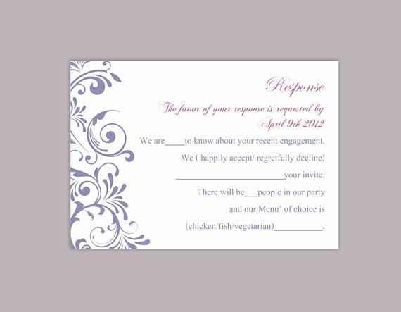 Wedding Response Cards Templates Free Beautiful Diy Wedding Rsvp Template Editable Word File Instant