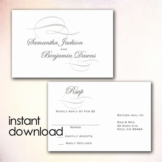 Wedding Response Cards Templates Free Elegant Diy Wedding Rsvp Postcard Template Instant Download