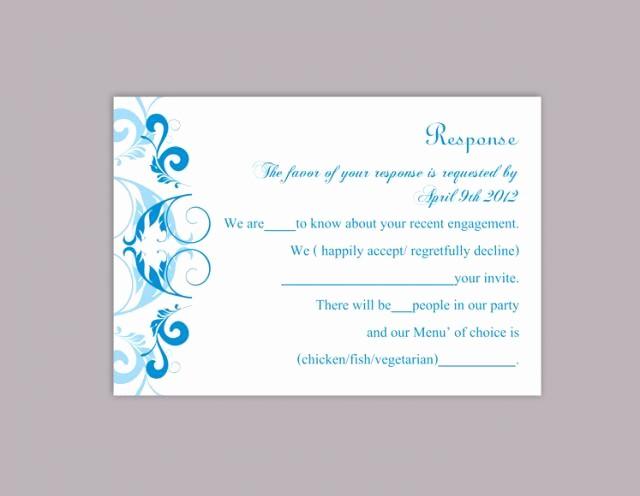 Wedding Response Cards Templates Free Elegant Diy Wedding Rsvp Template Editable Word File Instant