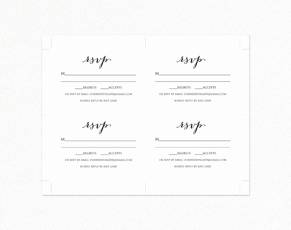Wedding Response Cards Templates Free Elegant Wedding Rsvp Card Template Diy Wedding Templates and