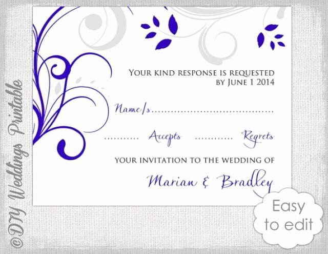 Wedding Response Cards Templates Free Fresh Response Card Template Diy Royal Blue & Silver Gray