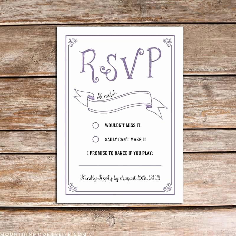 Wedding Response Cards Templates Free Fresh Vintage Rustic Diy Rsvp Card