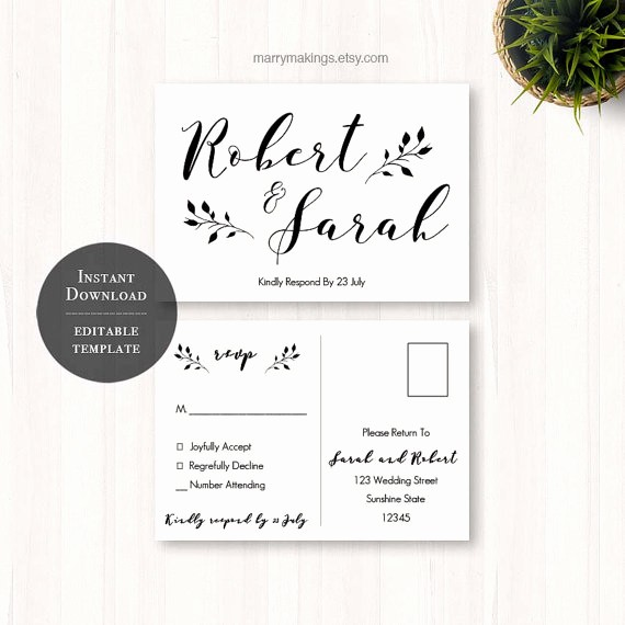 Wedding Response Cards Templates Free Inspirational Diy Wedding Rsvp Rsvp Template Wedding Printable