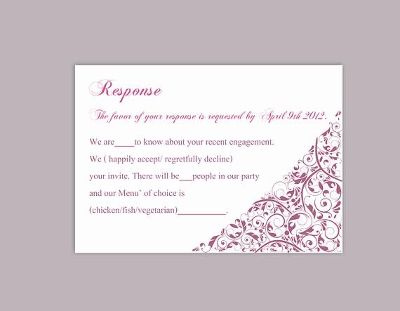 Wedding Response Cards Templates Free Inspirational Diy Wedding Rsvp Template Editable Text Word File Download