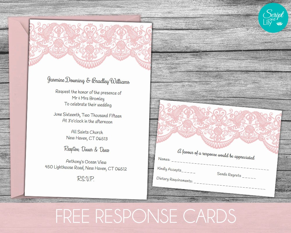 Wedding Response Cards Templates Free Lovely Lace Wedding Invitation Template Free Response Card Templ