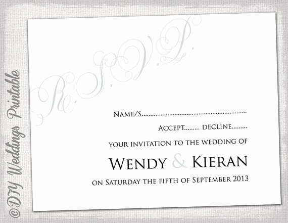 Wedding Response Cards Templates Free Lovely Wedding Rsvp Template Diy Silver Gray Calligraphy