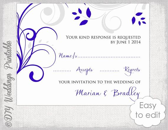 Wedding Response Cards Templates Free Luxury Response Card Template Diy Royal Blue & Silver Gray