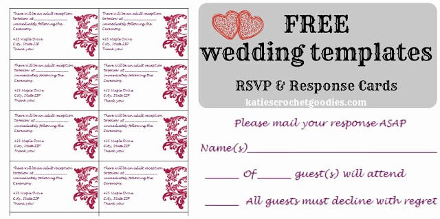 Wedding Response Cards Templates Free New Free Wedding Templates Rsvp & Reception Cards Katie S