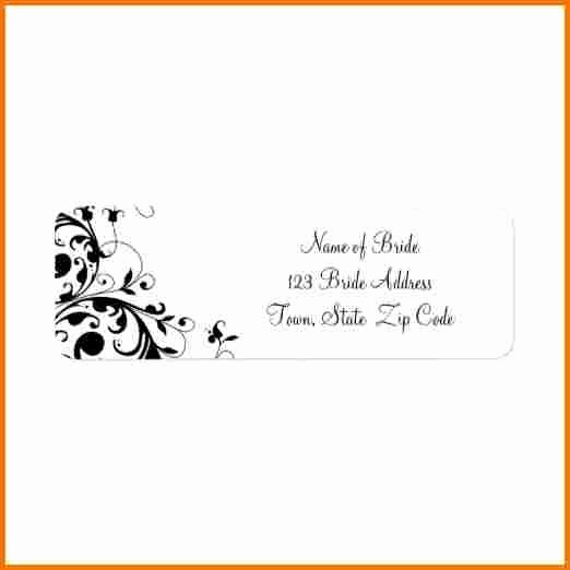 Wedding Return Address Label Template Beautiful Wedding Address Label Template