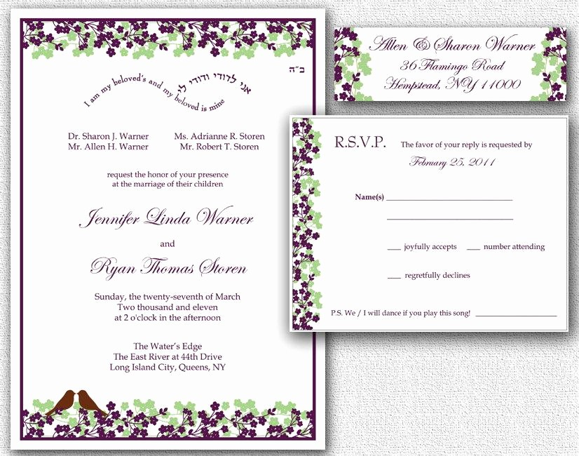 Wedding Return Address Label Template Beautiful Wedding Invitation Rsvp Card & Return Address Labels
