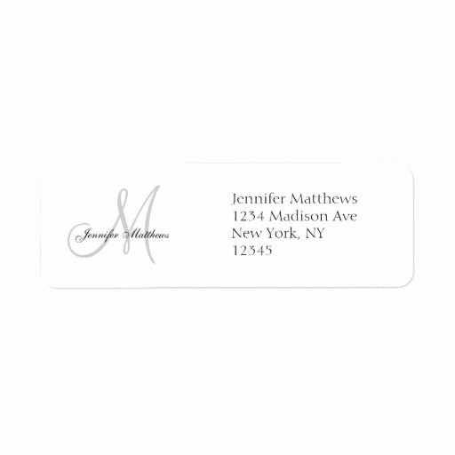 Wedding Return Address Label Template Best Of Monogram Wedding Invitation Simple Address Labels