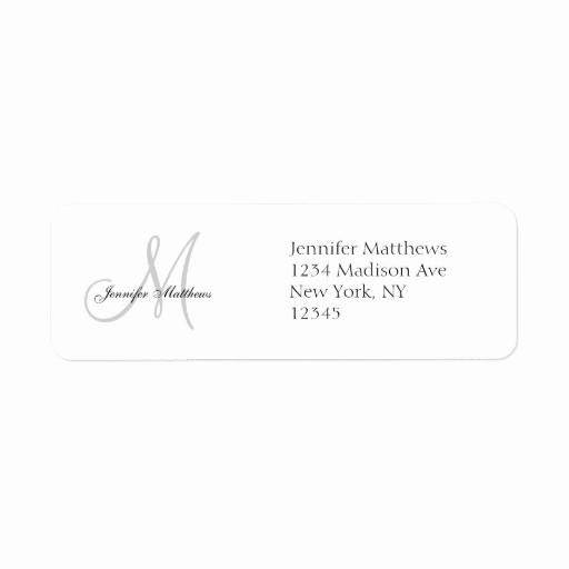 Wedding Return Address Label Template Best Of Monogram Wedding Invitation Simple Address Labels