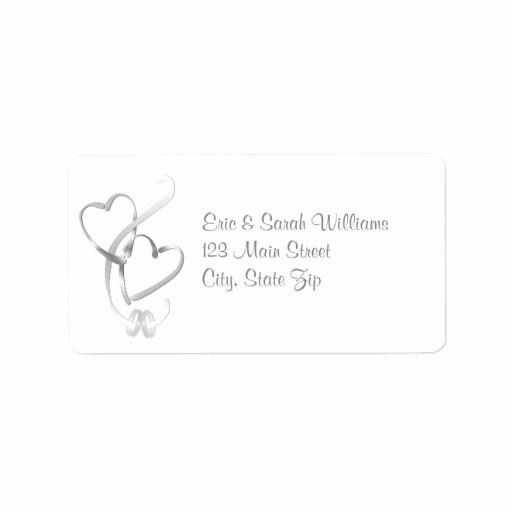 Wedding Return Address Label Template Best Of Silver Hearts Wedding Address Labels