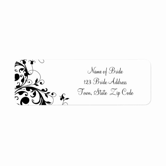 Wedding Return Address Label Template Fresh Black White Swirl Wedding Return Address Label