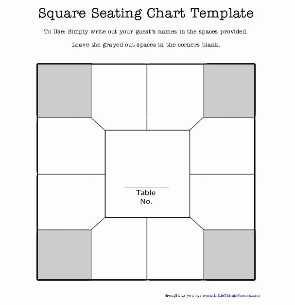 Wedding Seating Charts Templates Free Lovely Free Printable Square Table Seating Chart Template for