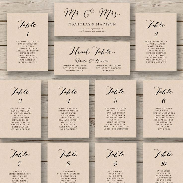 Wedding Table Seating Chart Template Awesome Wedding Seating Chart Template Printable by