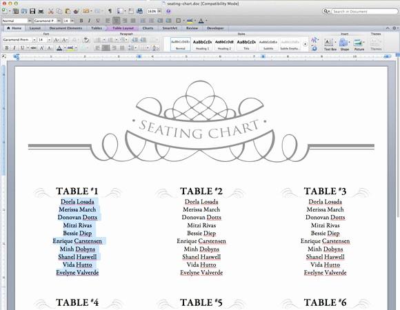 Wedding Table Seating Chart Template Elegant Free Printable Wedding Seating Chart Template