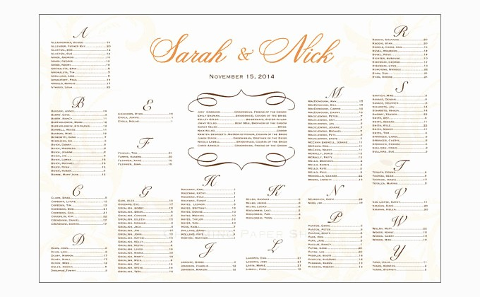 Wedding Table Seating Chart Template Inspirational Wedding Seating Chart Template