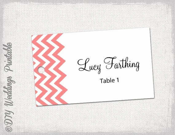 Wedding Tags Template Microsoft Word Awesome Diy Favor Tags Template Chevron Coral Escort Card