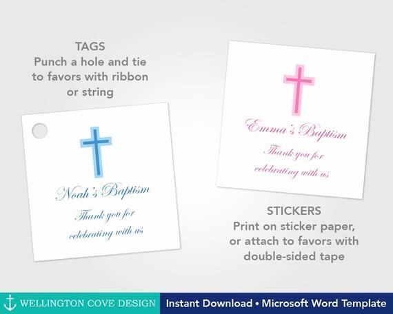 Wedding Tags Template Microsoft Word Elegant Printable Baptism Favor Tags or Stickers • Microsoft Word